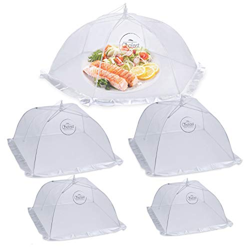 Chefast Food Cover Tent (5 Packs) - Pop Up Mesh Covers in 5 Sizes with Reusable Carry Bag - Protect Foods from Fruit Flies - Great for Picnics and Outdoor BBQ