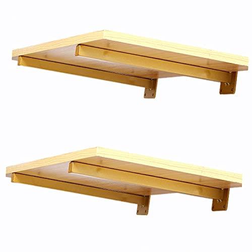 Soportes de estante de tubo cuadrado flotantes 40 cm, resistentes soportes de hierro, decoración moderna para estantería de pared [4 unidades doradas]