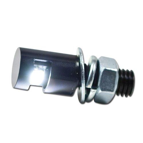 Motorrad Kennzeichenbeleuchtung Power-LED, M8, schwarz, Kabellänge 45 cm, Ø=12mm x H: 17mm, E-geprüft