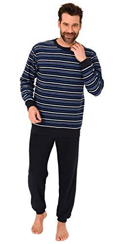 Langer Herren Frottee Pyjama Schlafanzug mit Bündchen - Streifenoptik - 291 101 13 133, Farbe:Marine/blau, Größe:52