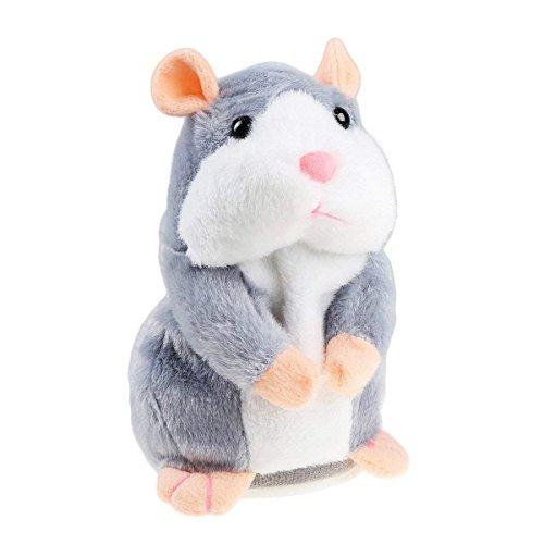 Hablando Hamster de Peluche de Juguete, Repite lo Que digas Juguetes Divertidos para niños, Peluches de Registro de Peluche interactivos para el Día de San Valentín (Hámster parlante gris)