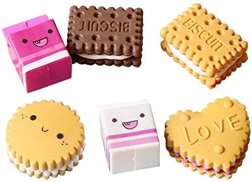 6 piezas de borrador lindo con forma de comida, borrador de goma, novedad, dulce, juego de papelería para niños, estudiantes, escuela, aula, fiesta, favores (color aleatorio)