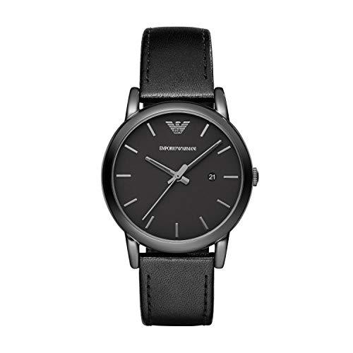 Emporio Armani Herren Analog Quarz Uhr mit Leder Armband AR1732