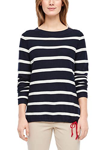 s.Oliver RED Label Damen Strickpullover mit Schleife Regular Fit Schleife, Navy/Cream Stripes, 40
