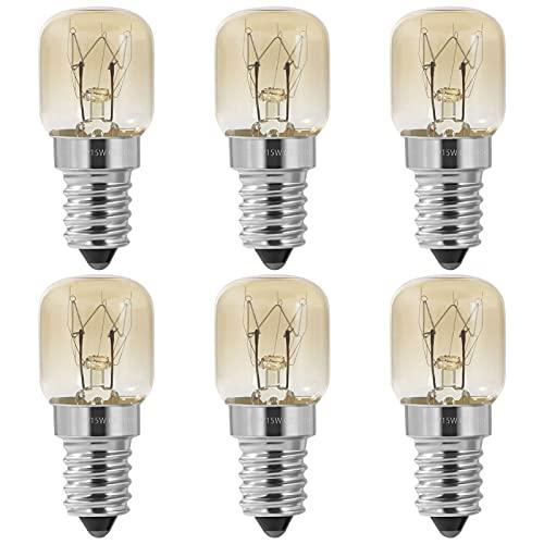 FANTESI 6 Stück Backofenlampe, Ofenbirnen 15W T22 E14 Glühlampe, Bis 300°C Hitzebeständiges, 220-240V AC/DC, Klarglas-Glühbirnen für Ofen, Salzlampe