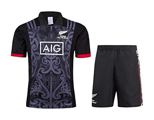 New Zealand Maori rugby Jersey DZHTSWD Uomo, All Black 2019 Camicie casa Rugby League e Formazione Shorts 2 pezzi da uomo Competition Pro Jersey, traspirante Tempo libero Maglietta, s-, Taglia: XXL, C