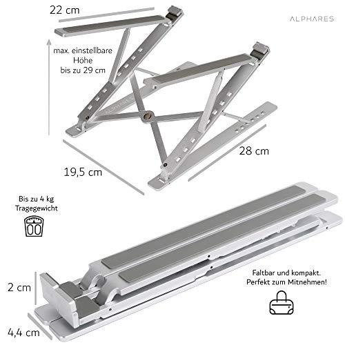 Alphares Laptop Ständer höhenverstellbar und faltbar | Tablet und Handy Halterung | multifunktionale Halterung aus Aluminium in Silber | Flexible Höhe einstellbar | perfekt für das Homeoffice