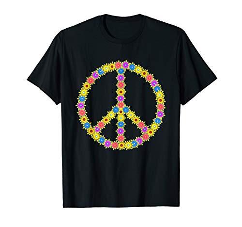 Love Peace 60er 70er Flower Power Hippie Kostüm Fasching T-Shirt
