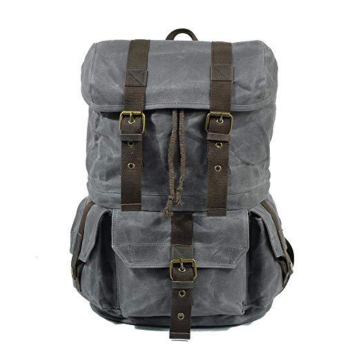 YUXINXIN Vintage-Rucksack aus Wachsstoff, für Herren, Laptop, große Kapazität, lässig, modisch Seladongrün 30 * 20 * 45CM