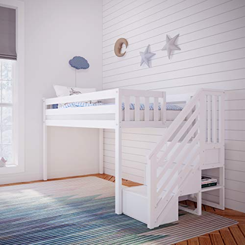 Max & Lily Twin Low Loft Bed with Staircase, White
