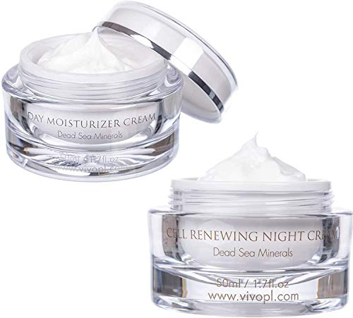 Night And Day Cream Set From Vivo - Face Moisturizer Cream Set For A Tired Skin - Unisex Day And Night Skin Care - Dead Sea Cream Set For Face - Skin Care Moisturizing Set