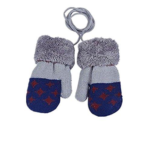 Gants bébé Auxma Pour 0-3 ans Bébé Warm Gloves Kids Garçons Filles Toddler Gants Tricotés Gants Feuille (Bleu foncé)