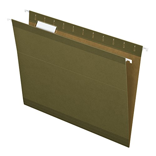 Pendaflex Reinforced Hanging Folders, Letter Size, Standard Green, 1/5 Cut, Includes Tabs and Inserts, 25/Box (41521AMZ)