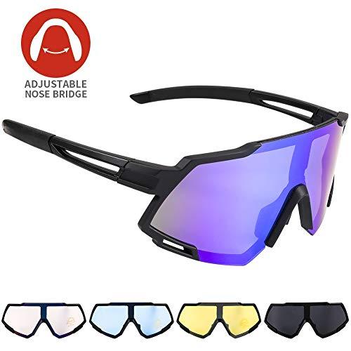 Radbrille CrazyFire Polarisierte Sportbrille Fahrradbrille Großer Bildschirm Sonnenbrille mit UV-Schutz 5 Wechselgläser für Outdooraktivitäten wie Radfahren Laufen Klettern Autofahren Angeln Golf