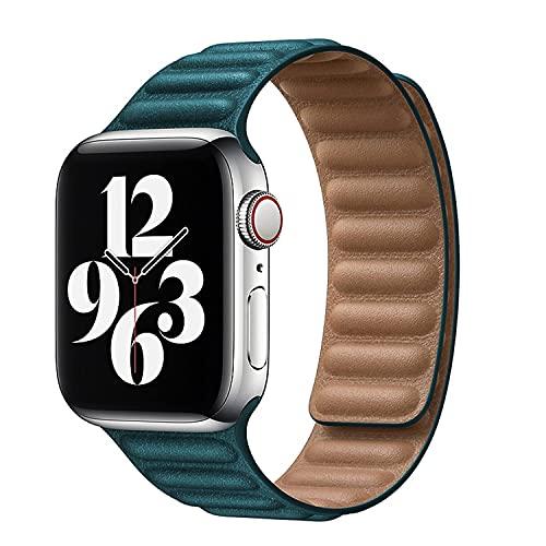 Correa de Cuero Compatible con Apple Watch 44mm 42mm 38mm 40mm,Pulseras de Repuesto para iWatch Series SE/6/5/4/3/2/1,Ajustable Bandas con Cierre Magnético para Mujeres y Hombres,Malaquita,42mm/44mm