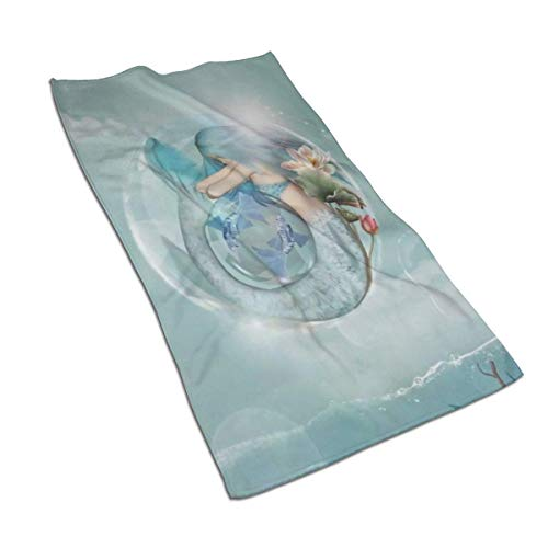 XCNGG Hermosa sirena en burbujas de jabón con estilo Piscis Zodiac Design Toallas de baño de microfibra Ligero, suave, muy absorbente, para baño, gimnasio, deportes, spa, viajes, acampada (27,5 x 15,7