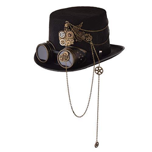 COSDREAMER Unisex Steampunk Top Hüte Halloween Kostüm Hut mit Brille Gr. 7.125, Schwarz