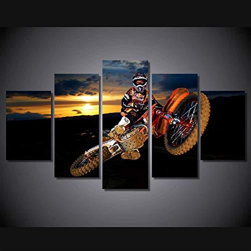 axqisqx Leinwanddrucke Wohnzimmer Wandkunst Dekoration Bilder Hd Gedruckt 5 Panel Beste Aktion Motocross Moderne Malerei Poster