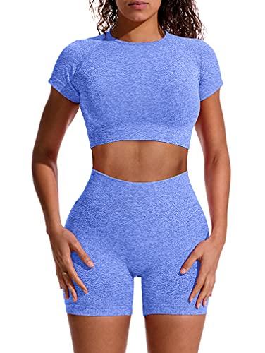 GXIN - Conjunto de yoga para mujer, sin costuras, 2 piezas, traje de cintura alta - azul - M