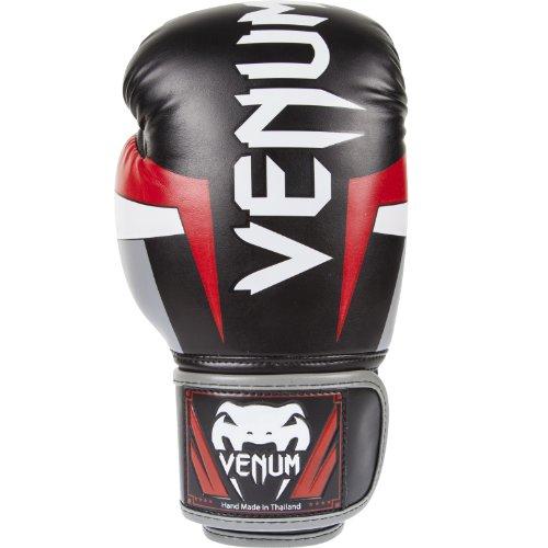Venum Elite Boxing Gloves, Black/Red/Grey, 8 oz