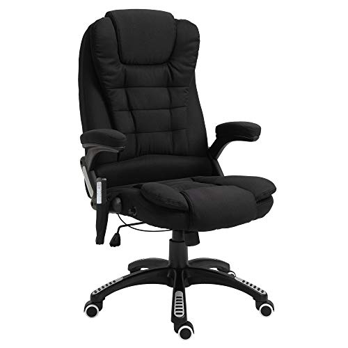 Vinsetto Ergonomic Vibrating Massage Office Chair High Back Executive Heated Chair with 6 Point Vibration Reclining Backrest Padded Armrest Black