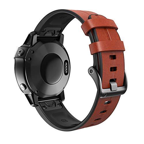 ANBEST Pulseras Compatibles con Fenix 6/Fenix 5/Fenix 6 Pro/Fenix 5 Plus Correa, Pulsera de Dos en Uno de Silicona & Cuero Repuesto para Forerunner 935/945/Approach S60/Quatix 5 Smart Watch
