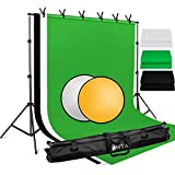 LOMTAP Backdrop Support Stand 6.5ftx9.8ft Adjustable Background Stand Green Screen Backdrop Kit Background Support System with 2 in1 Reflector 6 Clips Carry Bag for Video Studio Shooting Photography