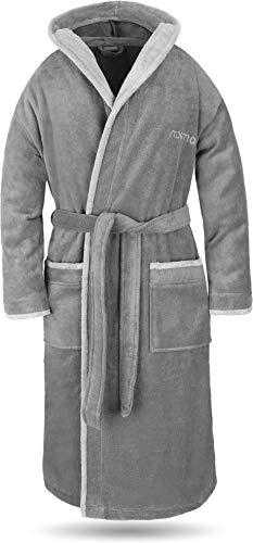 normani® Baumwoll Bademantel mit Kapuze in weicher Premium Qualität mit Öko Tex 100 für Damen und Herren Farbe Grau/Hellgrau Größe 4XL