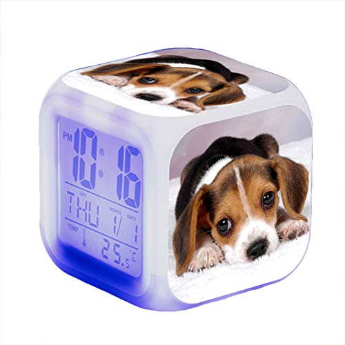 Wecker Hund Tier,Wake Up Licht Lichtwecker Alarm Kinder Beleuchteter LED Night Glowing Wecker mit Licht Aufwachen Geburtstagsgeschenke (K)