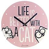 Close Up Simon's Cat Wanduhr Life is Better with A Cat - rosa, Bedruckt, aus MDF Holzfasermaterial, im Sichtkarton.