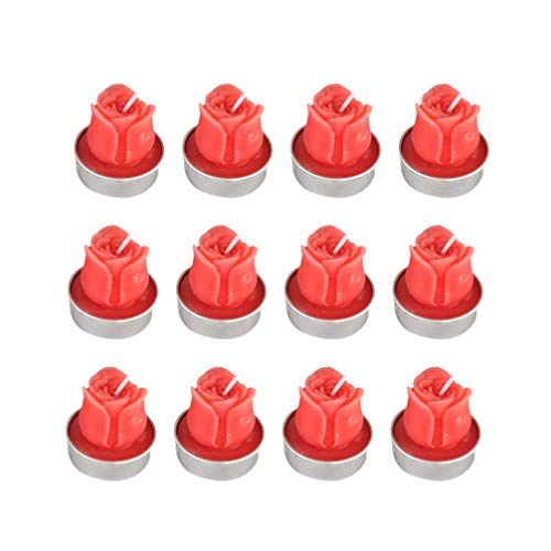 BESPORTBLE 12pcs Rose Tealight Candles Handmade Floating Candles Rose Petals Candles Wax Candles for Valentines Day Party Wedding Spa Home Decor Gifts Red 4 x 3.5cm