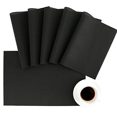 DOLOPL Black Placemat Halloween Placemats Set of 8 Easy to Clean Wipeable Washable Heat Resistant Modern Outdoor Placemats for Dining Kitchen Table Halloween Thanksgiving Christmas Decorations