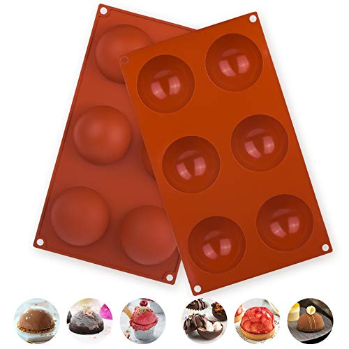 2 Pack Large 6-Holes Semi Sphere Silicone Mold, Baking Mold for Making Chocolate Bomb, Cake, Jelly, Pudding, Dome Mousse (Brick red)