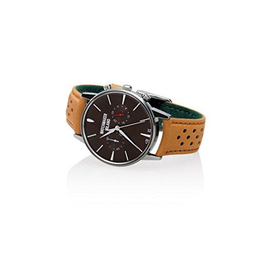 Watchmaker Milano Orologio da Polso Uomo Vintage in Acciaio con Cronografo e Cinturino da Pilota in Pelle Retro (Quadrante Marrone)