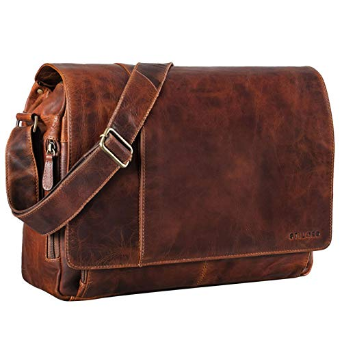 STILORD 'Elias' Vintage Messenger Bag Leather Shoulder Cross-Body Laptop Bag 15.6 inches MacBooks Genuine Buff Leather, Colour:Florida - Brown