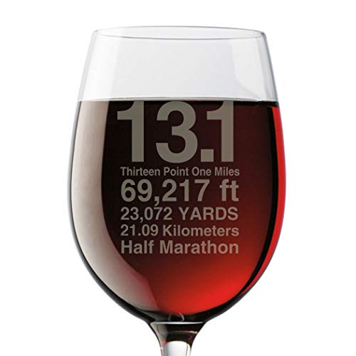 Gone For a Run 13.1 Math Miles Engraved Wine Glass | Wine Glasses 19 oz.