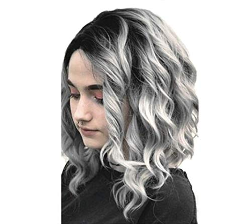 2019 Female Wig Medium Long Straight Hair Gradient Silver Grey Fashionable Natural Long Bangs High Quality High Temperature Wire Wig Cap