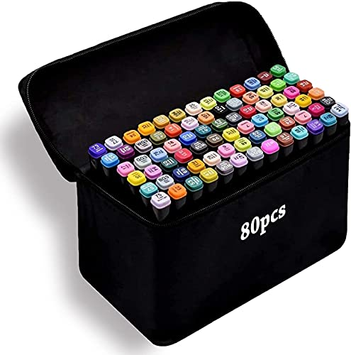 Amazing Tour Graphic Marker Pens, 80 Colors Drawing Art Markers Artist Dual Tips...