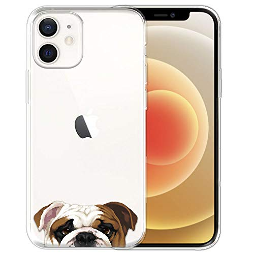 FINCIBO Clear Transparent TPU Soft Gel Skin Case Cover Compatible with Apple iPhone 12/12 Pro 6.1 inch 2020 - English Bulldog