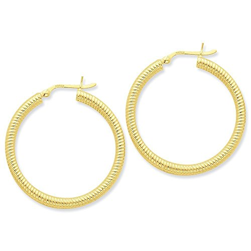 Sterling Silver Gold-flashed Ribbed 35mm Hoop Earrings (1.18 in x 0.14 in)