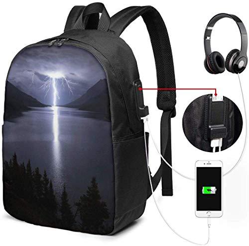 Bergen Lightning Waterdichte Laptop Rugzak met USB Opladen Poort Hoofdtelefoon Past 17 Inch Laptop Computer Rugzakken Reizen Daypack School Tassen voor Mannen Vrouwen