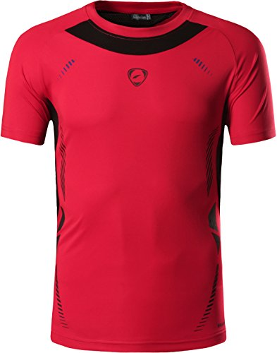 jeansian Hombre Camisetas Deportivas Wicking Quick Dry tee T-Shirt Sport Tops LSL133 (US S(165-170cm 60-65kg), LSL3225_Red)