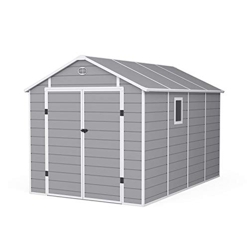 BillyOh Kingston Apex Plastic Shed Inc. Floor | Large Plastic Garden Storage | Outdoor Storage Shed | 8ft x 12ft - Light Grey…
