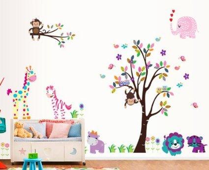 Rainbow Fox XLarge coloré et Cartoon animaux Stickers muraux Belle Arbre Girafe Singe Lion zebra Tiger la chambre des enfants pépinière autocollants muraux Stickers muraux amovibles/Décoration Murale-Lot de 2 feuilles