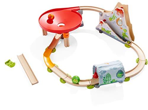 HABA 303898 - Kullerbü – Kugelbahn Drachenland , Holzkugelbahn und Motorikspielzeug von 2-8 Jahren , Mit Drachenvulkan und Drachentunnel