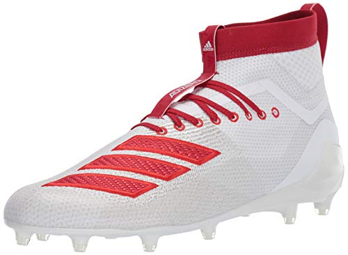 adidas Men's Adizero 8.0 SK Football Shoe, White/Power red/Active Red, 14 M US
