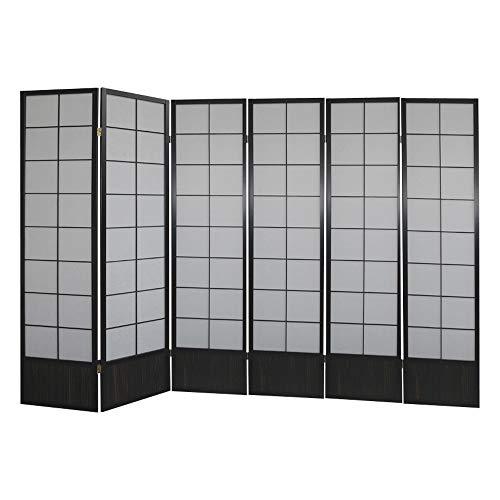 Paravents by Cilios Paravent Hoshi Style 6 XL Black - blickdichte Stellwand mit Shoji Art bespannt, Sondergröße 190 cm hoch