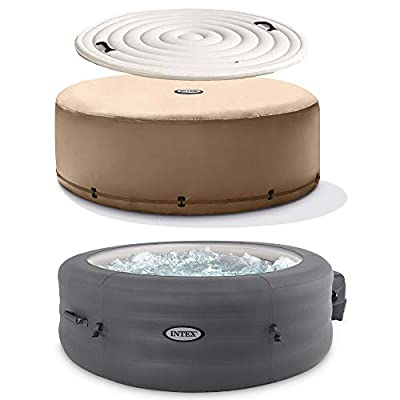 Intex 28481E Simple Spa 77in x 26in 4 Person Inflatable Hot Tub Set with Energy Efficient Cover and Filter Pump