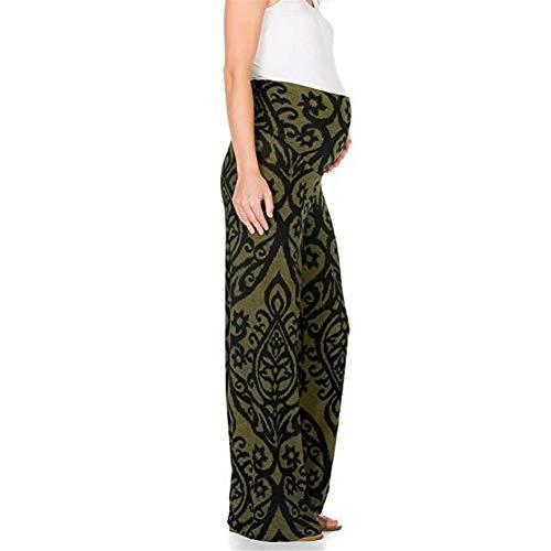 Vrouwen met capuchon Luipaard print elastiek in de taille wijde pijpen Broeken for zwangere vrouwen Block Pull-up (Color : Blue, Size : L)