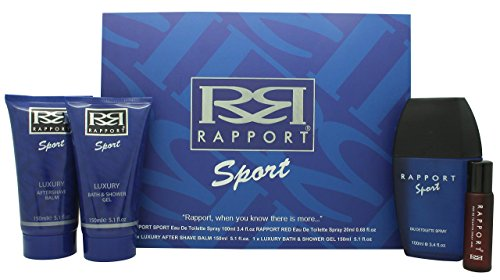 Rapport Sport Gift Set for Men with Edt 100ml Spray, Rapport Red Edt 20ml Spray, 150ml After Shave Balm and 150ml Shower Gel by Rapport